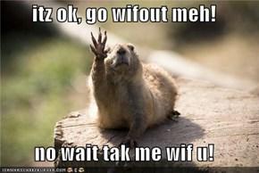 itz ok, go wifout meh!  no wait tak me wif u!