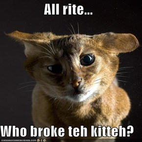 All rite...  Who broke teh kitteh?