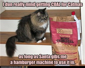 I dun really mind getting COAL for Catmas         as long as Santa gibs me  a hamburger machine to use it in.