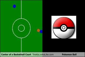 Center of a Basketball Court Totally Looks Like Pokemon Ball