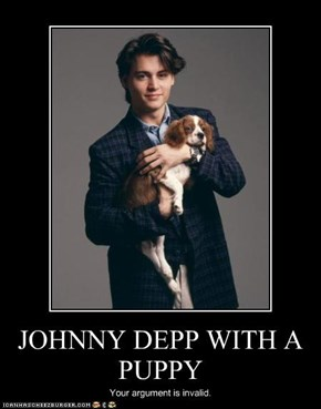 JOHNNY DEPP WITH A PUPPY