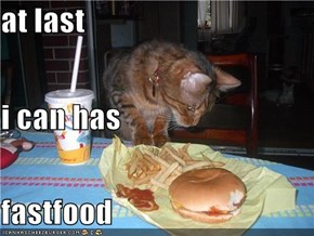 at last i can has  fastfood