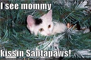 I see mommy  kissin Santapaws!
