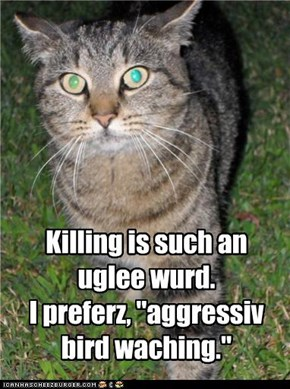 "Killing is such an uglee wurd.   I preferz, ""aggressiv bird waching."""
