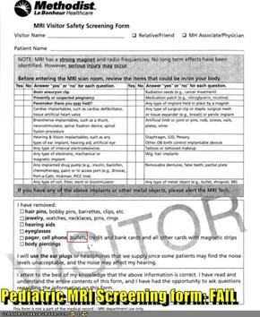 Pediatric MRI Screening form: FAIL