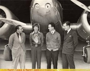 Happy plane is happy to meet Amelia Earhart