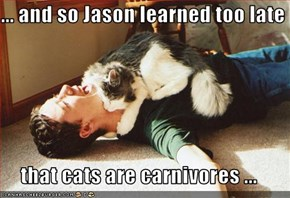... and so Jason learned too late  that cats are carnivores ...