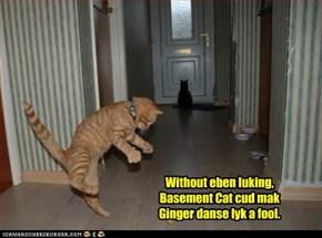 Without eben luking, Basement Cat cud mak Ginger danse lyk a fool.