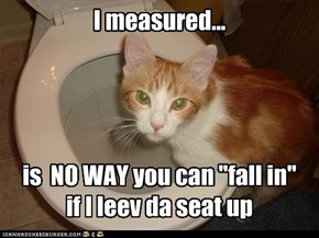 "I measured...     is  NO WAY you can ""fall in"" if I leev da seat up"