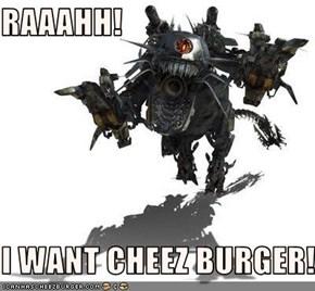 RAAAHH!  I WANT CHEEZ BURGER!