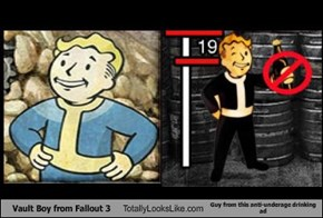 Vault Boy from Fallout 3 Totally Looks Like Guy from this anti-underage drinking ad