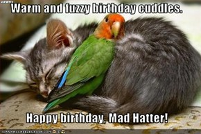 Warm and fuzzy birthday cuddles.  Happy birthday, Mad Hatter!