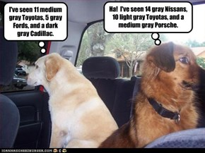 I've seen 11 medium gray Toyotas, 5 gray Fords, and a dark gray Cadillac.