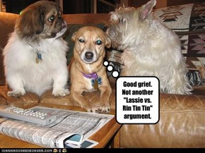 """Good grief.  Not another """"Lassie vs. Rin Tin Tin"""" argument."""