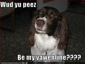 Wud yu peez  Be my vawentine????