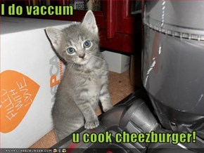 I do vaccum  u cook cheezburger!