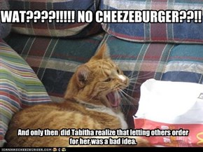WAT????!!!!! NO CHEEZEBURGER??!!