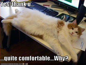 Yes, thank u...  ...quite comfortable...Why?