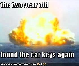the two year old  found the car keys again