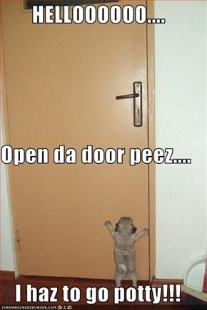 HELLOOOOOO.... Open da door peez.... I haz to go potty!!!