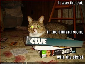 It was the cat,  in the billiard room, with the pistol