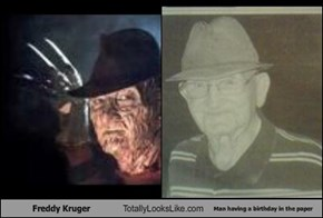 Freddy Kruger Totally Looks Like Man having a birthday in the paper