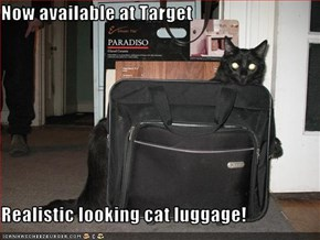 Now available at Target  Realistic looking cat luggage!