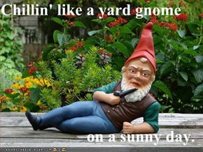 Chillin' like a yard gnome  on a sunny day.