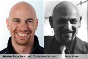 Skeleton Racer Zach Lund Totally Looks Like Anton LaVey