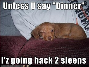 "Unless U say ""Dinner""    I'z going back 2 sleeps"
