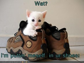 Wat?  I'm puttin' meself  in ur shoes!