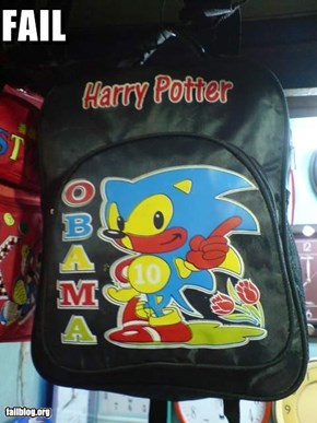 Obama-Sonic-Harry Potter bookbag