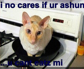 i no cares if ur ashun...  ...u cant eatz mi