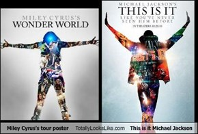 Miley Cyrus's tour poster Totally Looks Like This is it Michael Jackson
