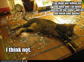 "You think just telling me ""bad kitty, don't hit those pieces off the table!"" will let you finish your puzzle?"