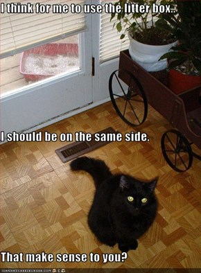 I think for me to use the litter box.. I should be on the same side. That make sense to you?