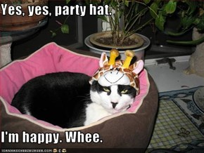 Yes, yes, party hat.  I'm happy. Whee.