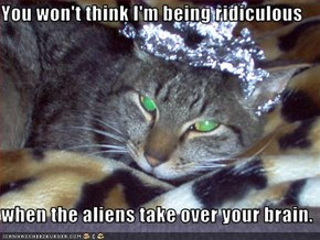 You won't think I'm being ridiculous  when the aliens take over your brain.