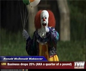 Ronald McDonald Makeover - Business drops 25% (AKA a quarter of a pound)