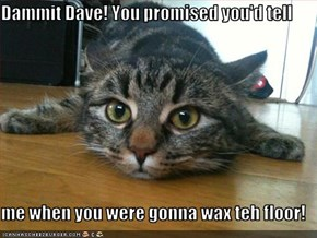 Dammit Dave! You promised you'd tell  me when you were gonna wax teh floor!