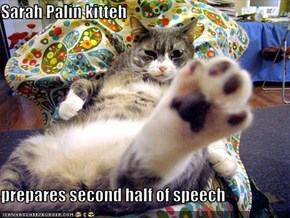 Sarah Palin kitteh  prepares second half of speech