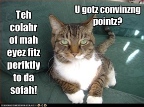 Teh colahr of mah eyez fitz perfktly to da sofah!