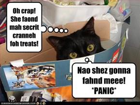 Oh crap! She faond mah secrit cranneh foh treats!