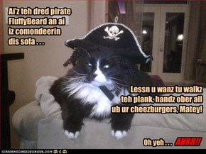 Ai'z teh dred pirate FluffyBeard an ai  iz comondeerin  dis sofa . . .