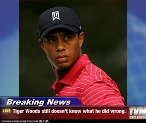 Breaking News - Tiger Woods still doesn't know what he did wrong.
