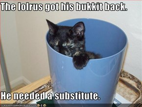 The lolrus got his bukkit back.  He needed a substitute.