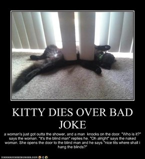 KITTY DIES OVER BAD JOKE