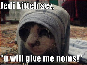 "Jedi kitteh sez,  ""u will give me noms!"""