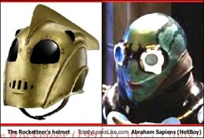 The Rocketteer's helmet Totally Looks Like Abraham Sapiens (HellBoy)