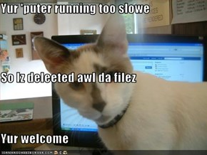 Yur 'puter running too slowe So Iz deleeted awl da filez Yur welcome